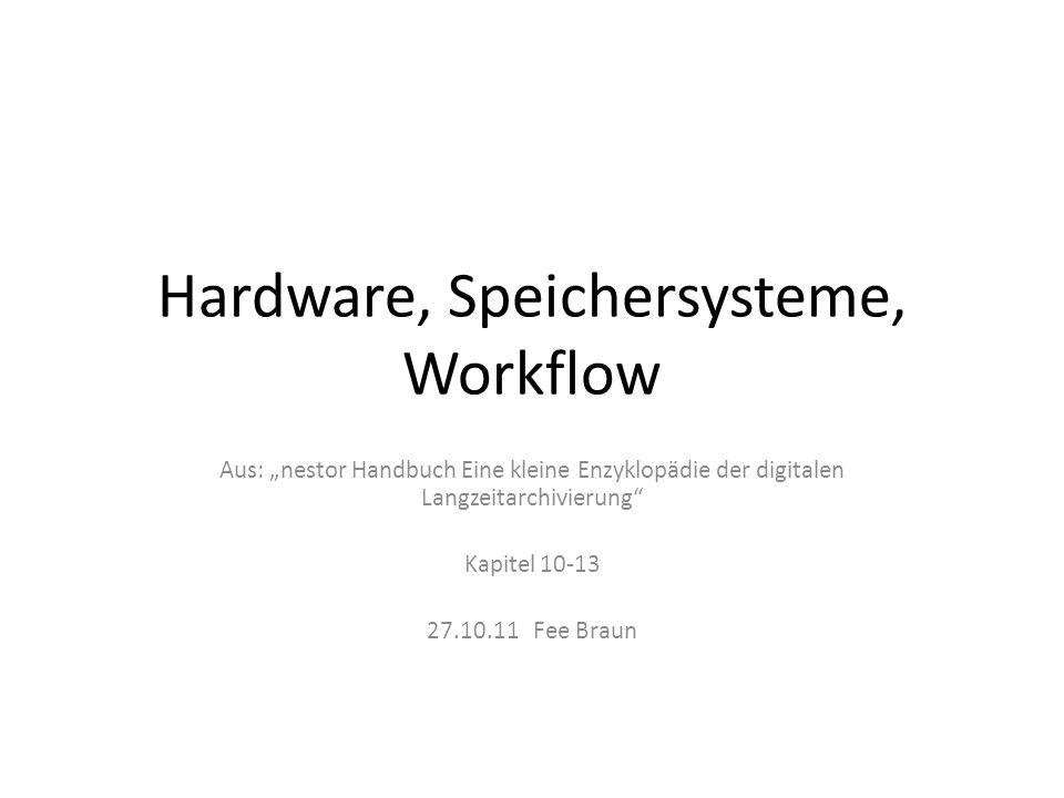 Inhalt Hardware & Speichersysteme – Problemstellung – Digitale Datensicherung – Speicherverfahren – Datenträger – Archivspeichersysteme Workflow – Übergreifende Basisprozesse der Langzeitarchivierung – Systematische Planung von digitaler Langzeitarchivierung