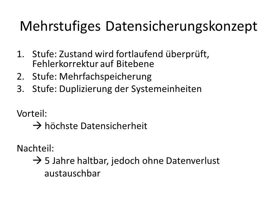 Mehrstufiges Datensicherungskonzept 1.Stufe: Zustand wird fortlaufend überprüft, Fehlerkorrektur auf Bitebene 2.Stufe: Mehrfachspeicherung 3.Stufe: Du