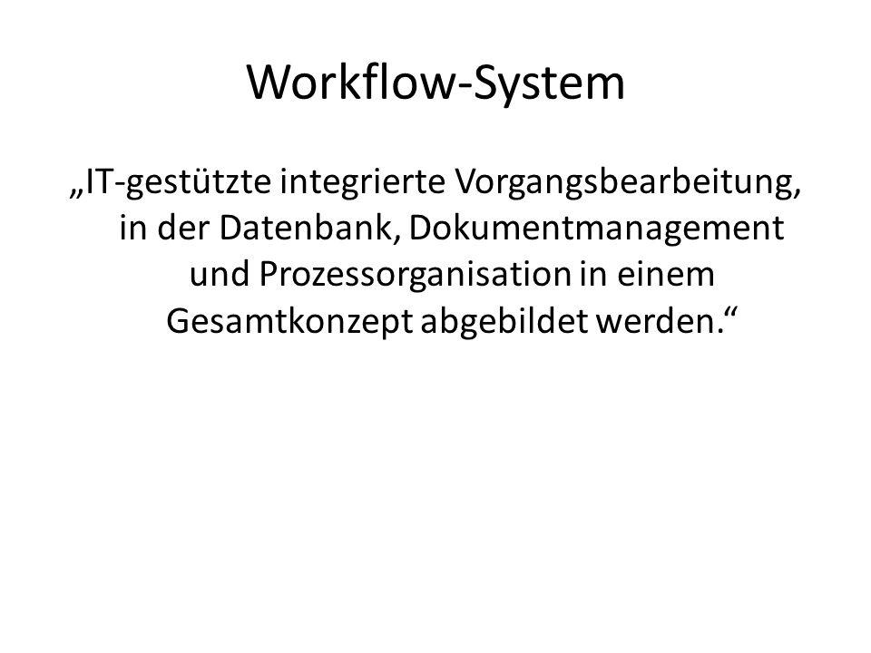 Workflow-System IT-gestützte integrierte Vorgangsbearbeitung, in der Datenbank, Dokumentmanagement und Prozessorganisation in einem Gesamtkonzept abge