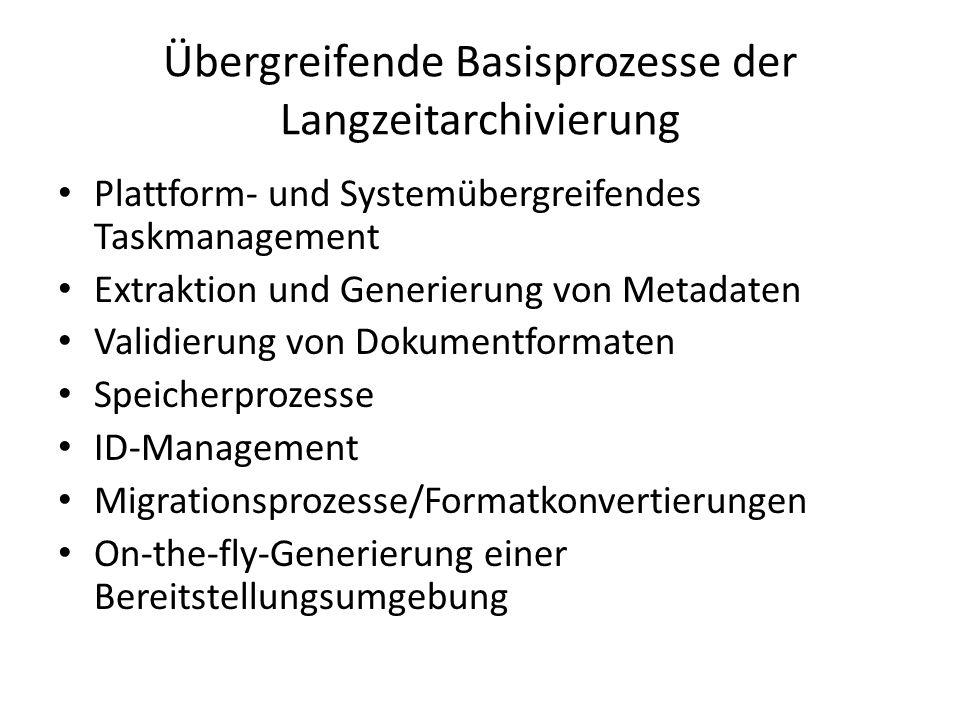 Übergreifende Basisprozesse der Langzeitarchivierung Plattform- und Systemübergreifendes Taskmanagement Extraktion und Generierung von Metadaten Valid