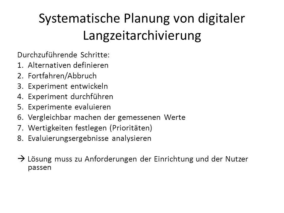 Systematische Planung von digitaler Langzeitarchivierung Durchzuführende Schritte: 1.Alternativen definieren 2.Fortfahren/Abbruch 3.Experiment entwick