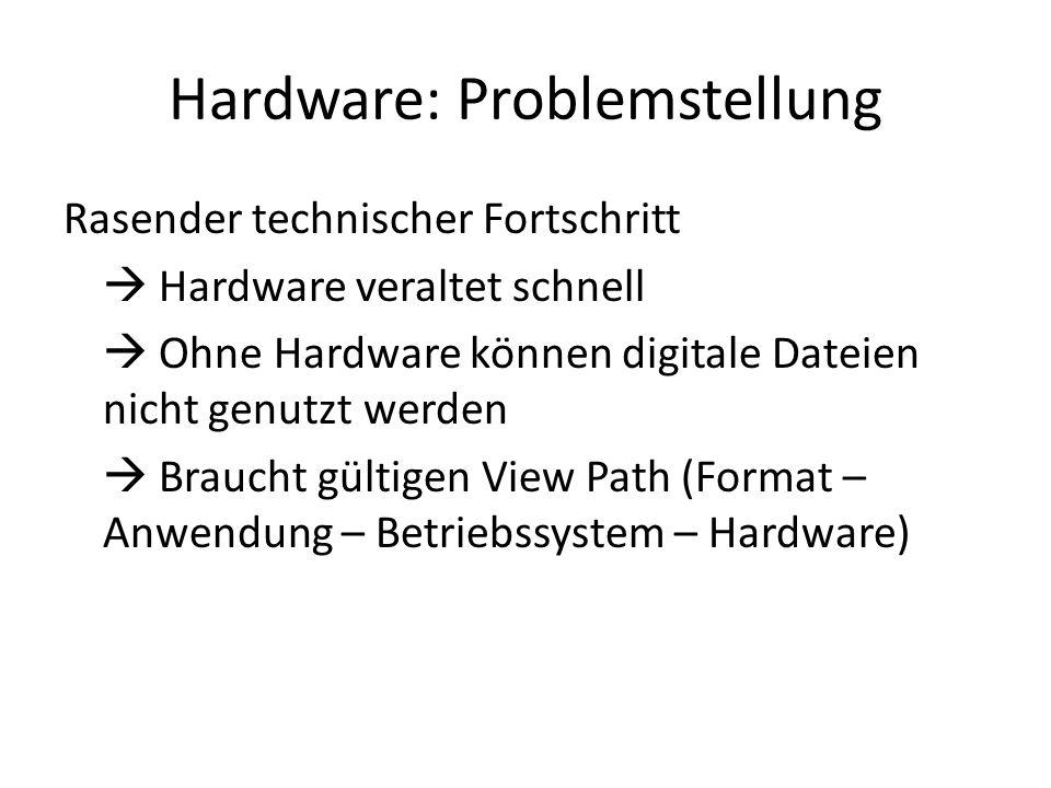Hardware: Problemstellung Rasender technischer Fortschritt Hardware veraltet schnell Ohne Hardware können digitale Dateien nicht genutzt werden Brauch