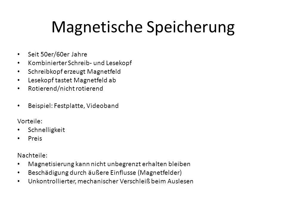 Magnetische Speicherung Seit 50er/60er Jahre Kombinierter Schreib- und Lesekopf Schreibkopf erzeugt Magnetfeld Lesekopf tastet Magnetfeld ab Rotierend