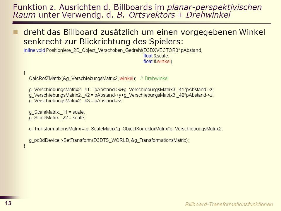 13 Funktion z.Ausrichten d. Billboards im planar-perspektivischen Raum unter Verwendg.