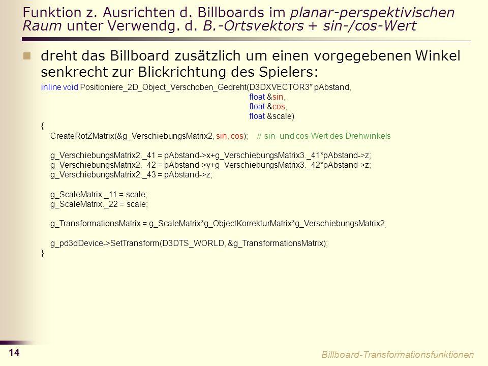 14 Funktion z.Ausrichten d. Billboards im planar-perspektivischen Raum unter Verwendg.