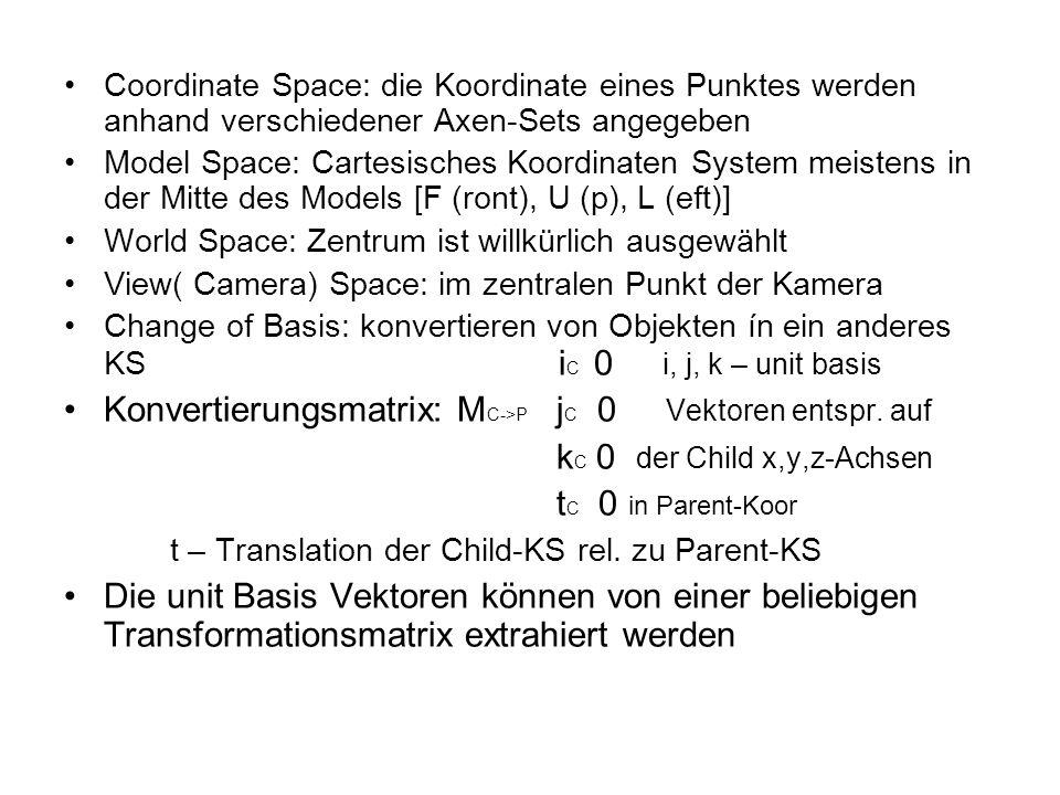 Coordinate Space: die Koordinate eines Punktes werden anhand verschiedener Axen-Sets angegeben Model Space: Cartesisches Koordinaten System meistens i