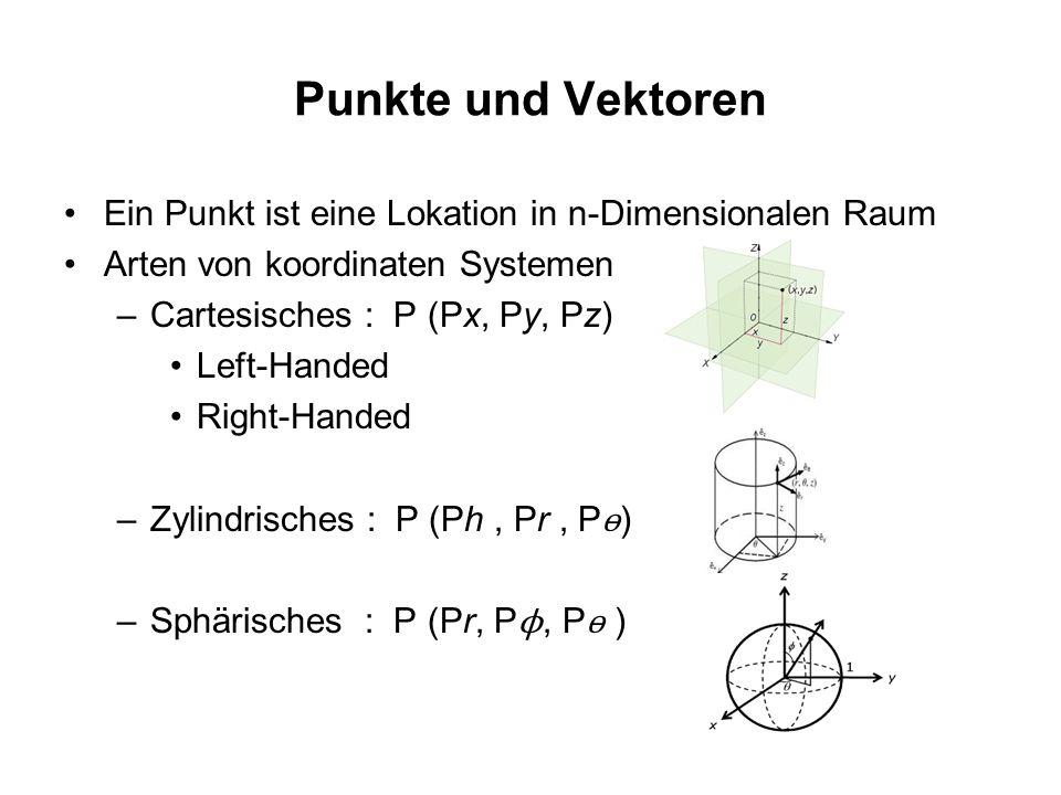 Punkte und Vektoren Ein Punkt ist eine Lokation in n-Dimensionalen Raum Arten von koordinaten Systemen –Cartesisches : P (Px, Py, Pz) Left-Handed Righ