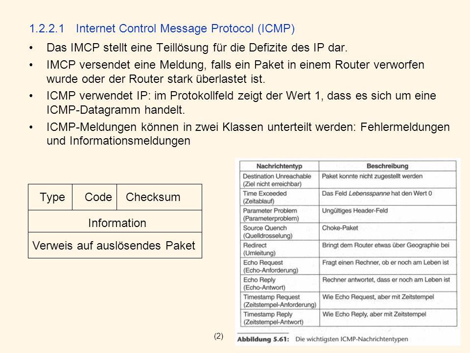 1.2.2.1Internet Control Message Protocol (ICMP) Das IMCP stellt eine Teillösung für die Defizite des IP dar. IMCP versendet eine Meldung, falls ein Pa