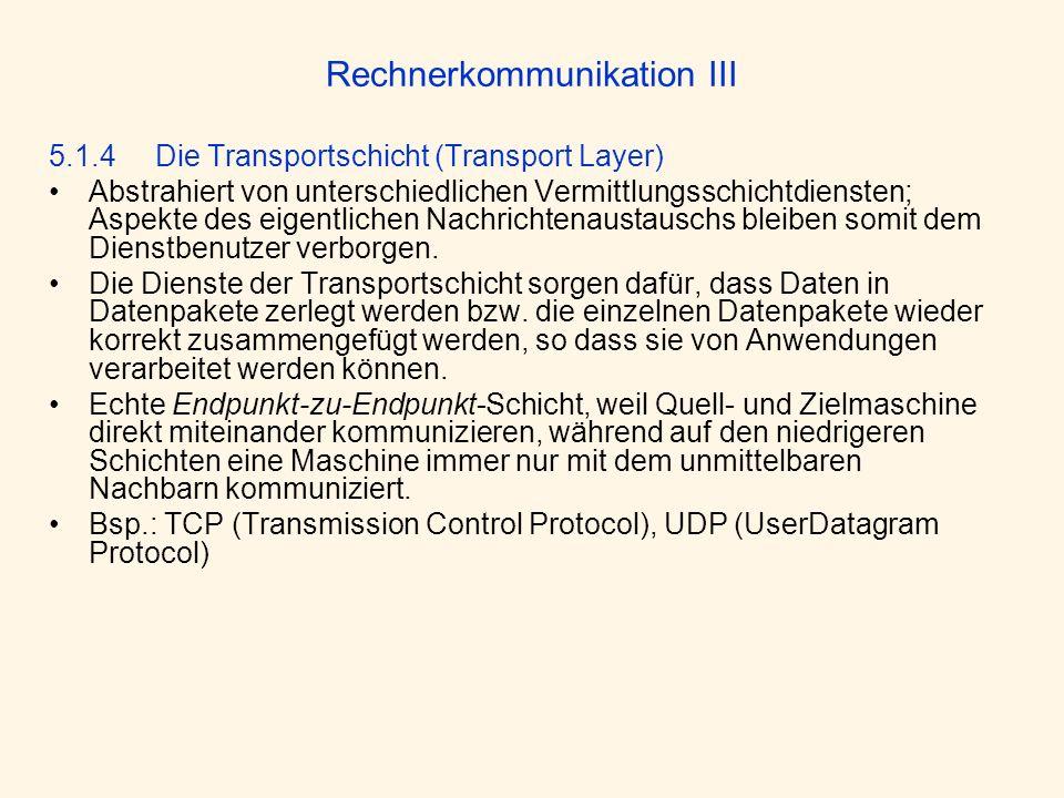 Rechnerkommunikation III 5.1.4 Die Transportschicht (Transport Layer) Abstrahiert von unterschiedlichen Vermittlungsschichtdiensten; Aspekte des eigen