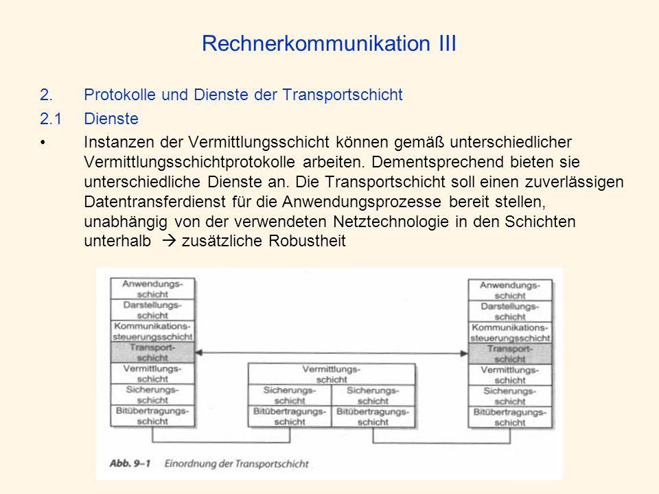 Rechnerkommunikation III 2.Protokolle und Dienste der Transportschicht 2.1 Dienste Instanzen der Vermittlungsschicht können gemäß unterschiedlicher Ve