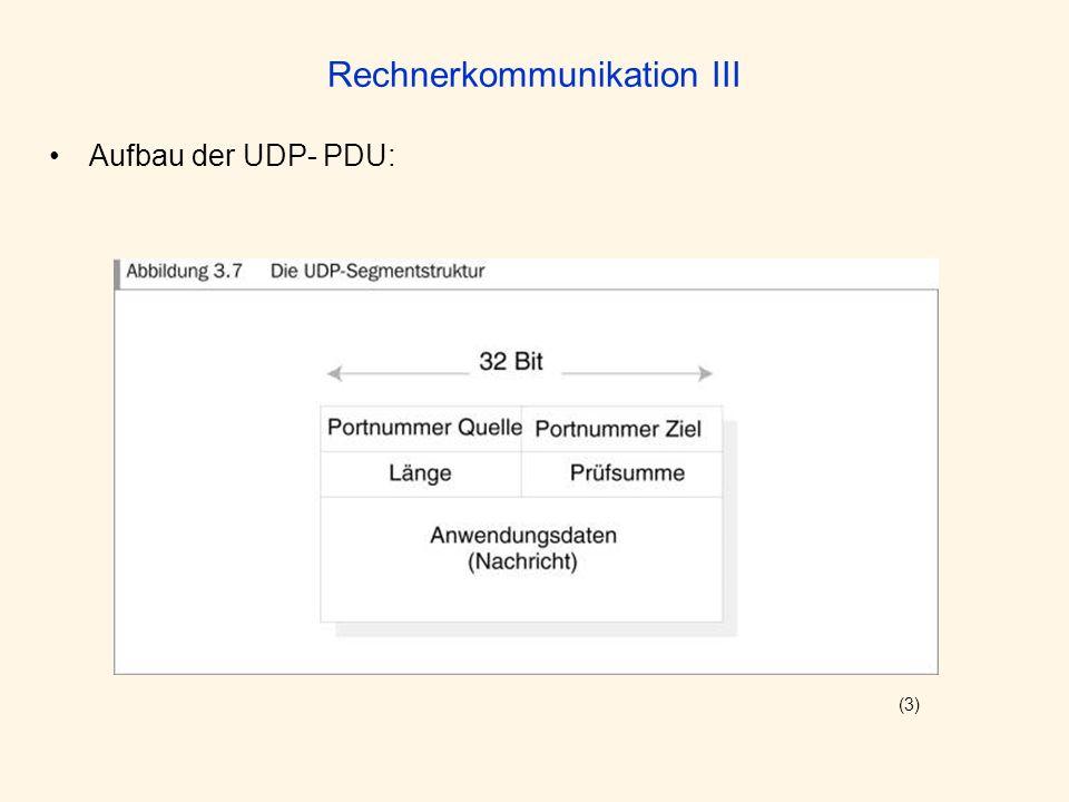 Rechnerkommunikation III Aufbau der UDP- PDU: (3)