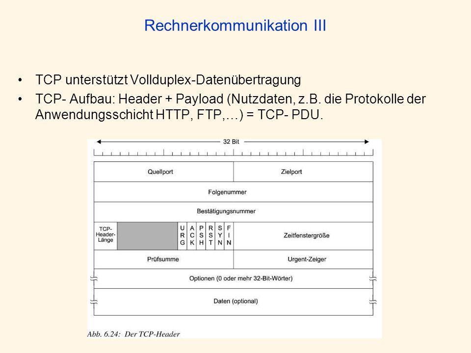 Rechnerkommunikation III TCP unterstützt Vollduplex-Datenübertragung TCP- Aufbau: Header + Payload (Nutzdaten, z.B. die Protokolle der Anwendungsschic