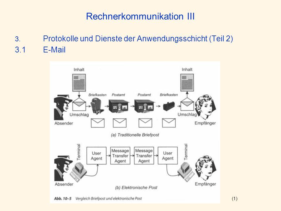 Rechnerkommunikation III 3. Protokolle und Dienste der Anwendungsschicht (Teil 2) 3.1E-Mail (1)