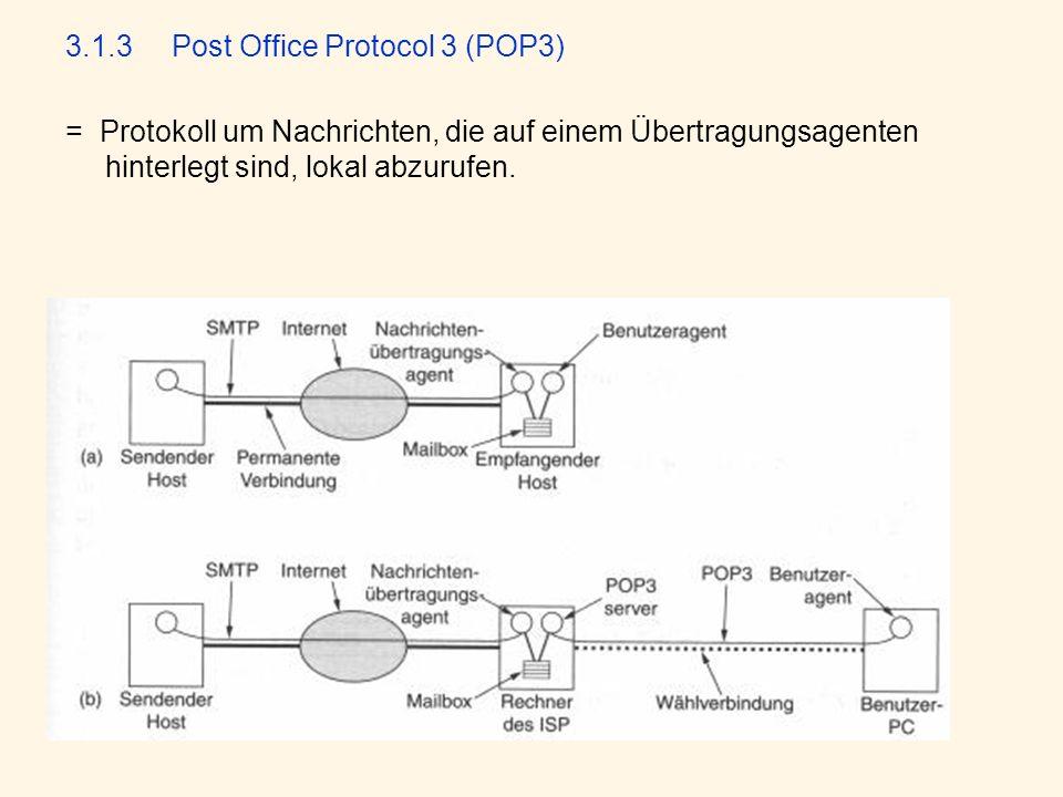 3.1.3 Post Office Protocol 3 (POP3) = Protokoll um Nachrichten, die auf einem Übertragungsagenten hinterlegt sind, lokal abzurufen.