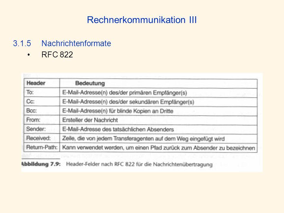 Rechnerkommunikation III 3.1.5 Nachrichtenformate RFC 822