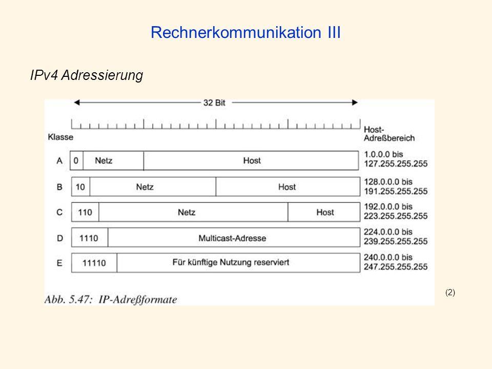 Rechnerkommunikation III IPv4 Adressierung (2)