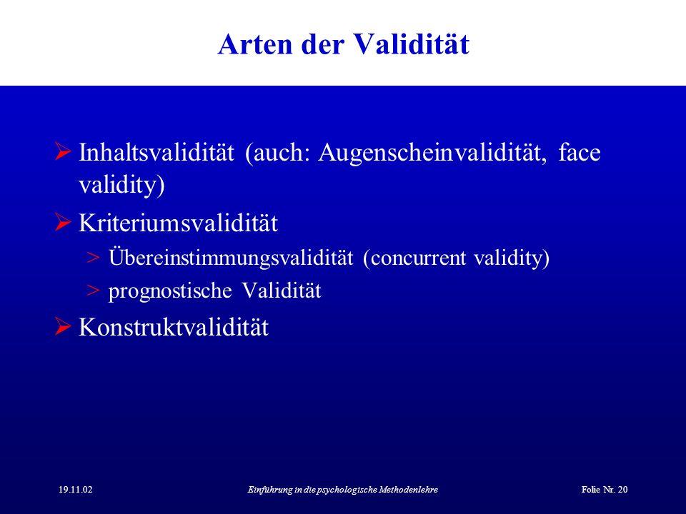 19.11.02Einführung in die psychologische MethodenlehreFolie Nr. 20 Arten der Validität Inhaltsvalidität (auch: Augenscheinvalidität, face validity) Kr
