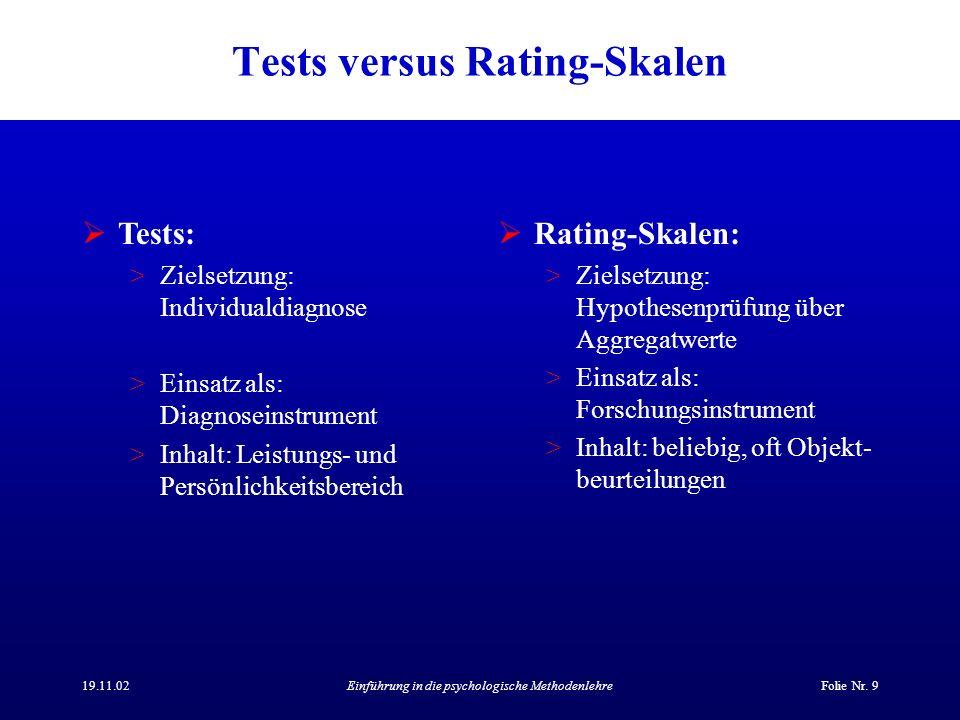 19.11.02Einführung in die psychologische MethodenlehreFolie Nr. 9 Tests versus Rating-Skalen Tests: >Zielsetzung: Individualdiagnose >Einsatz als: Dia