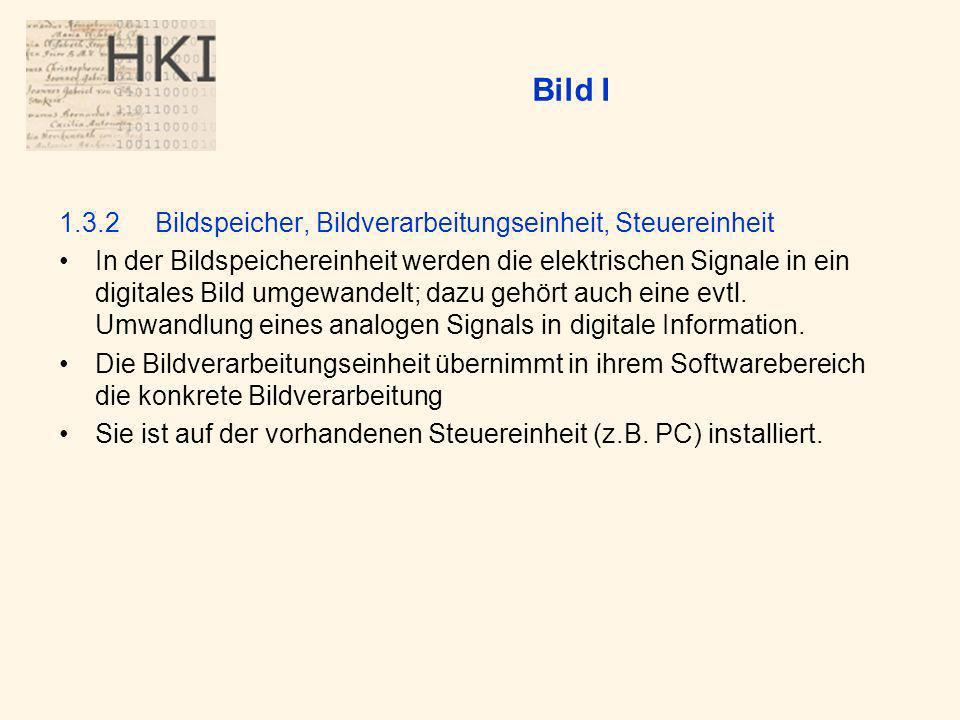 Bild I 1.3.2Bildspeicher, Bildverarbeitungseinheit, Steuereinheit In der Bildspeichereinheit werden die elektrischen Signale in ein digitales Bild umgewandelt; dazu gehört auch eine evtl.