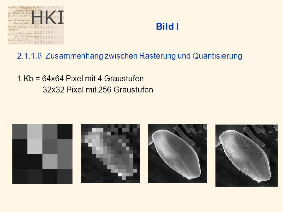 Bild I 2.1.1.6Zusammenhang zwischen Rasterung und Quantisierung 1 Kb = 64x64 Pixel mit 4 Graustufen 32x32 Pixel mit 256 Graustufen