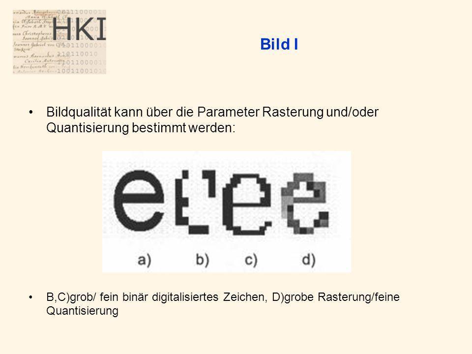 Bild I Bildqualität kann über die Parameter Rasterung und/oder Quantisierung bestimmt werden: B,C)grob/ fein binär digitalisiertes Zeichen, D)grobe Rasterung/feine Quantisierung