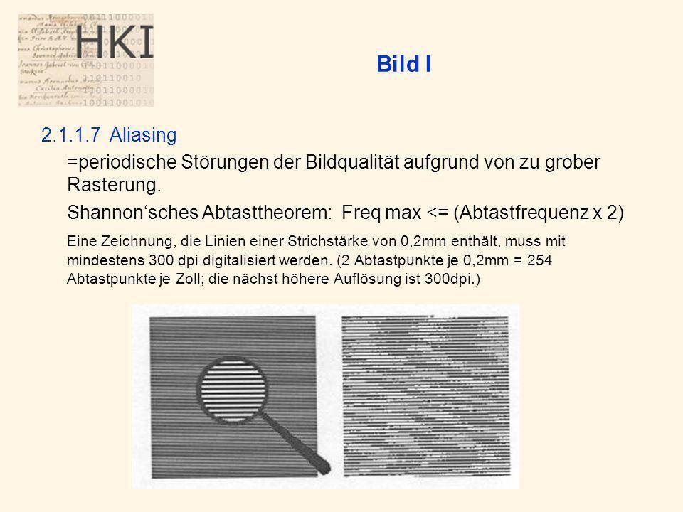 Bild I 2.1.1.7Aliasing =periodische Störungen der Bildqualität aufgrund von zu grober Rasterung.