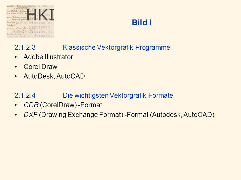 Bild I 2.1.2.3Klassische Vektorgrafik-Programme Adobe Illustrator Corel Draw AutoDesk, AutoCAD 2.1.2.4Die wichtigsten Vektorgrafik-Formate CDR (CorelDraw) -Format DXF (Drawing Exchange Format) -Format (Autodesk, AutoCAD)