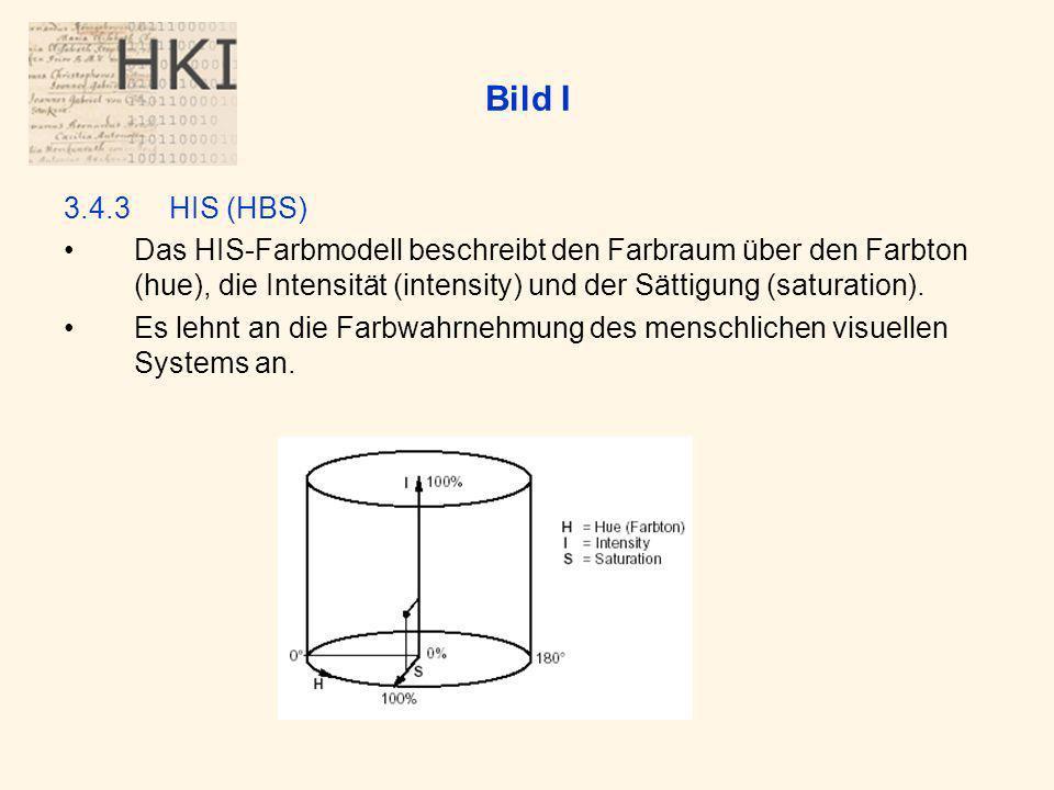 Bild I 3.4.3HIS (HBS) Das HIS-Farbmodell beschreibt den Farbraum über den Farbton (hue), die Intensität (intensity) und der Sättigung (saturation).