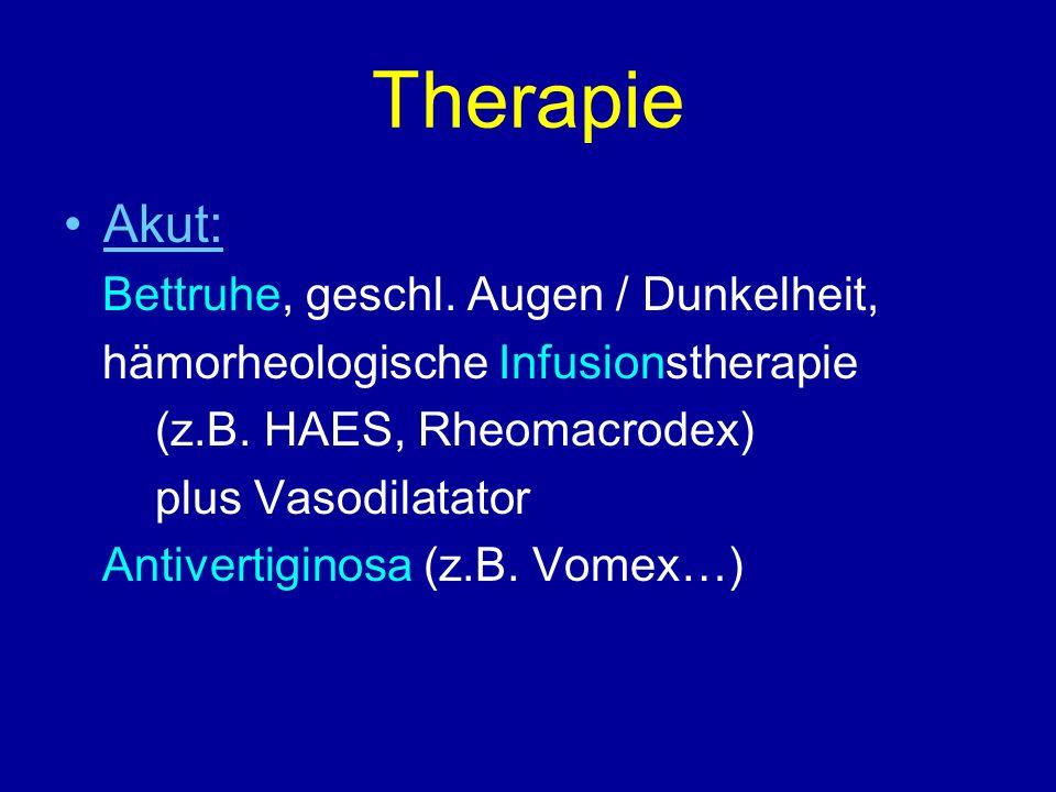 Therapie Akut: Bettruhe, geschl. Augen / Dunkelheit, hämorheologische Infusionstherapie (z.B. HAES, Rheomacrodex) plus Vasodilatator Antivertiginosa (