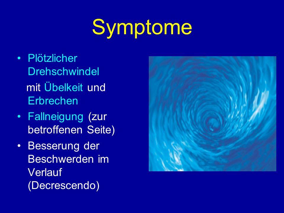 Symptome Plötzlicher Drehschwindel mit Übelkeit und Erbrechen Fallneigung (zur betroffenen Seite) Besserung der Beschwerden im Verlauf (Decrescendo)