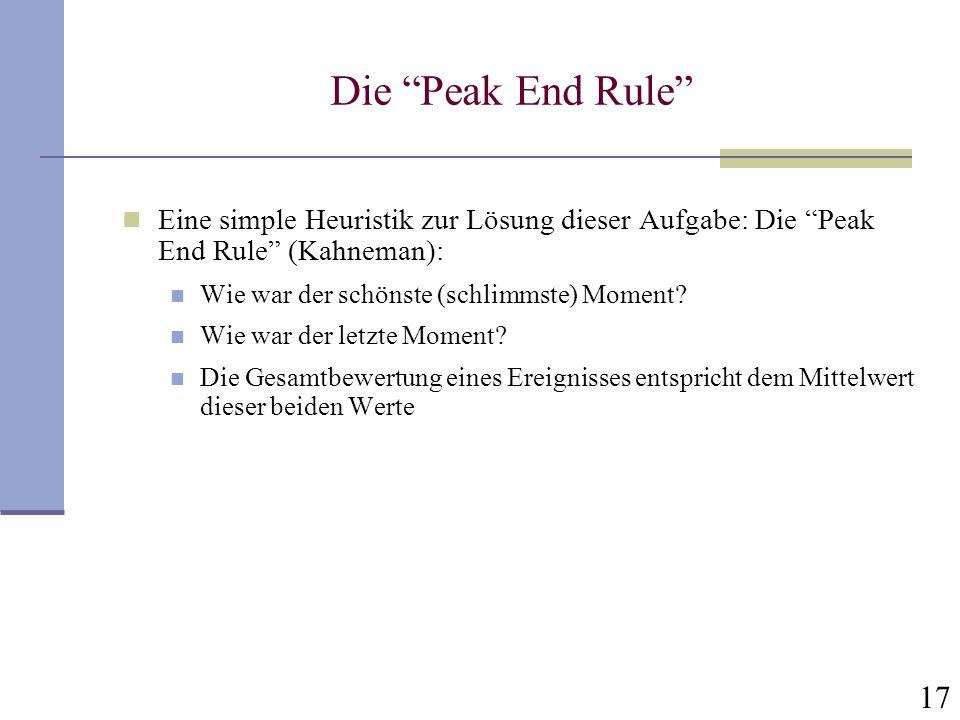 17 Die Peak End Rule Eine simple Heuristik zur Lösung dieser Aufgabe: Die Peak End Rule (Kahneman): Wie war der schönste (schlimmste) Moment? Wie war