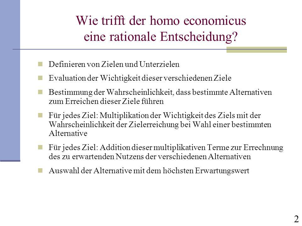 2 Wie trifft der homo economicus eine rationale Entscheidung? Definieren von Zielen und Unterzielen Evaluation der Wichtigkeit dieser verschiedenen Zi