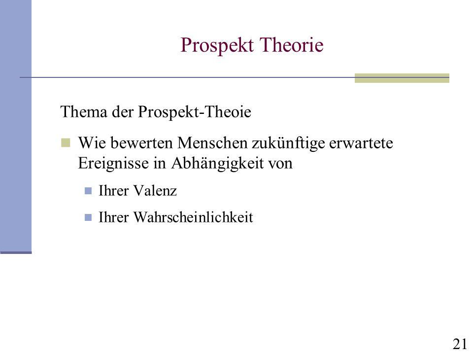 21 Prospekt Theorie Thema der Prospekt-Theoie Wie bewerten Menschen zukünftige erwartete Ereignisse in Abhängigkeit von Ihrer Valenz Ihrer Wahrscheinl