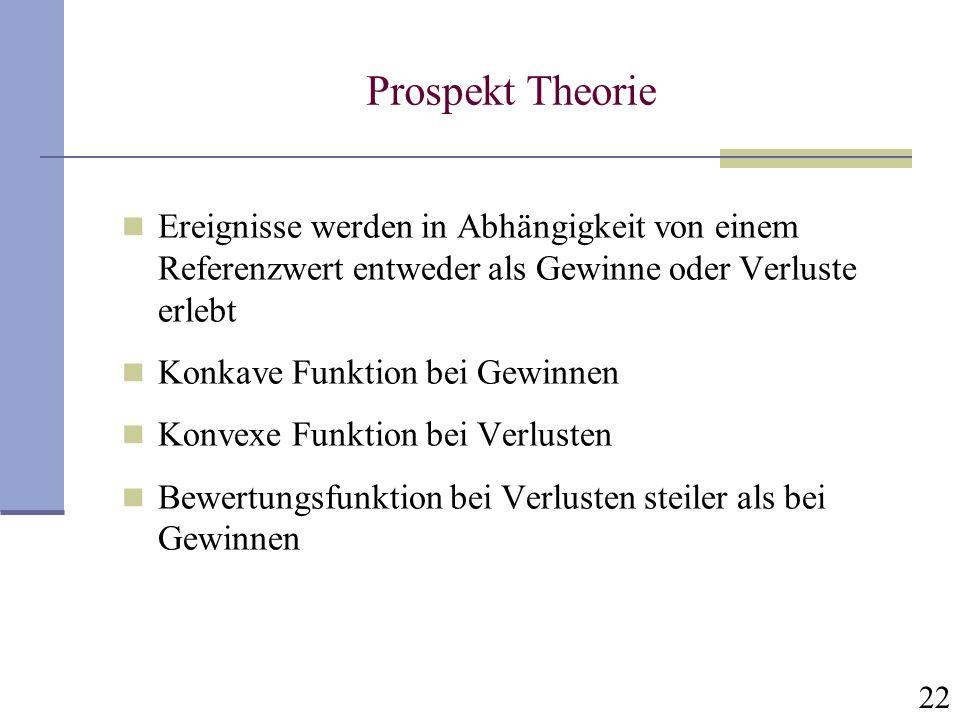 22 Prospekt Theorie Ereignisse werden in Abhängigkeit von einem Referenzwert entweder als Gewinne oder Verluste erlebt Konkave Funktion bei Gewinnen K