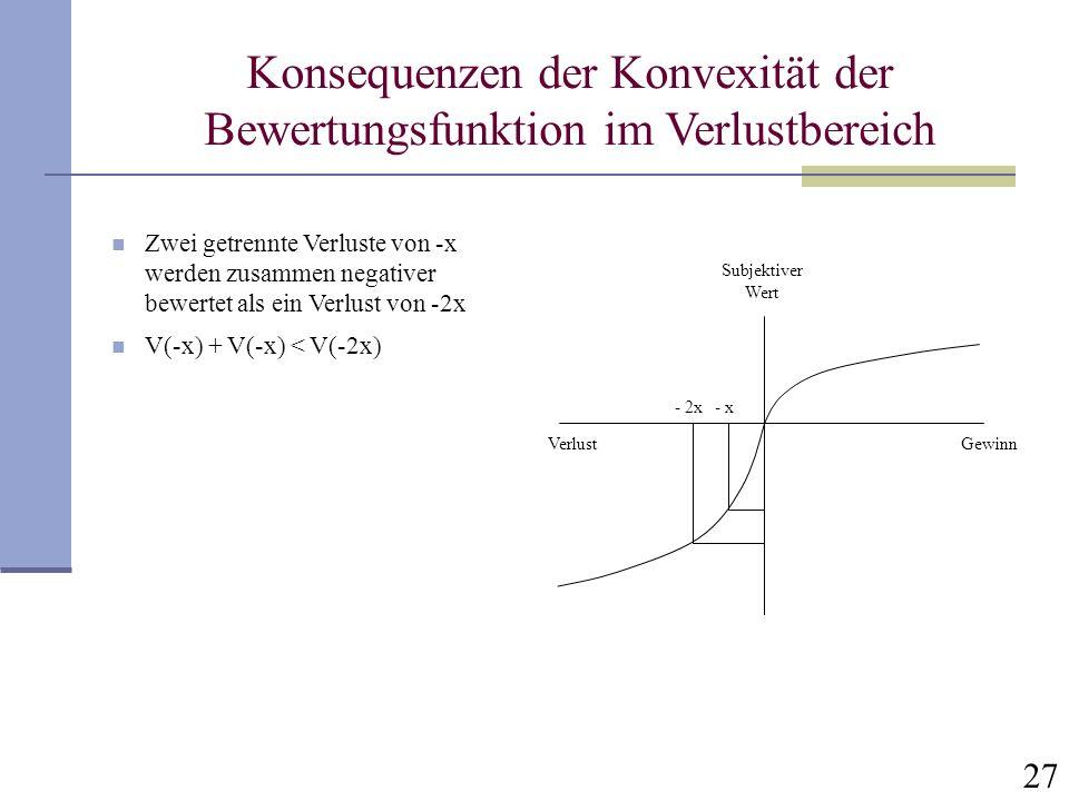 27 Konsequenzen der Konvexität der Bewertungsfunktion im Verlustbereich GewinnVerlust Subjektiver Wert - x - 2x Zwei getrennte Verluste von -x werden