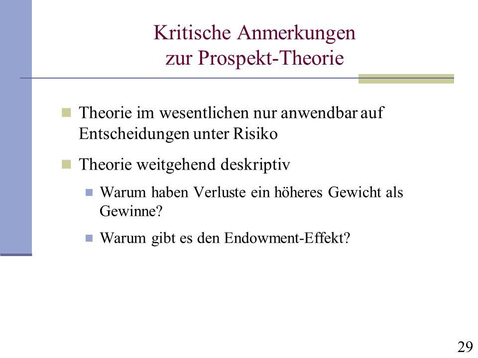29 Kritische Anmerkungen zur Prospekt-Theorie Theorie im wesentlichen nur anwendbar auf Entscheidungen unter Risiko Theorie weitgehend deskriptiv Waru