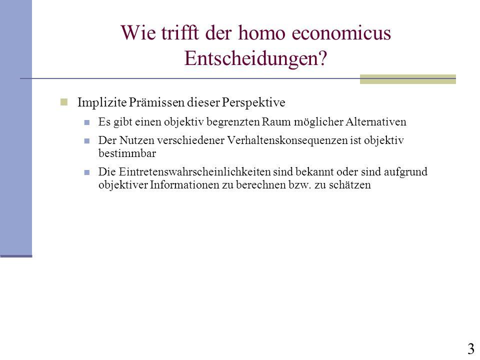 3 Wie trifft der homo economicus Entscheidungen? Implizite Prämissen dieser Perspektive Es gibt einen objektiv begrenzten Raum möglicher Alternativen