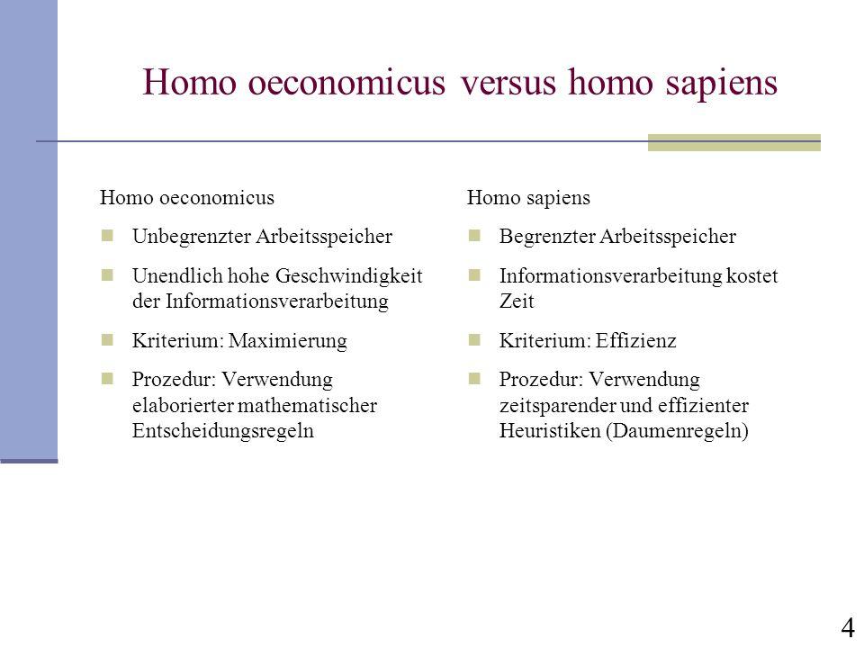 4 Homo oeconomicus versus homo sapiens Homo oeconomicus Unbegrenzter Arbeitsspeicher Unendlich hohe Geschwindigkeit der Informationsverarbeitung Krite