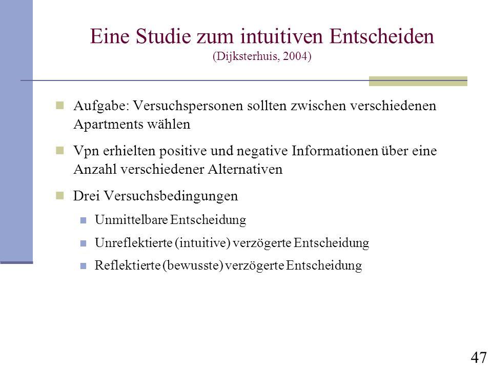 47 Eine Studie zum intuitiven Entscheiden (Dijksterhuis, 2004) Aufgabe: Versuchspersonen sollten zwischen verschiedenen Apartments wählen Vpn erhielte