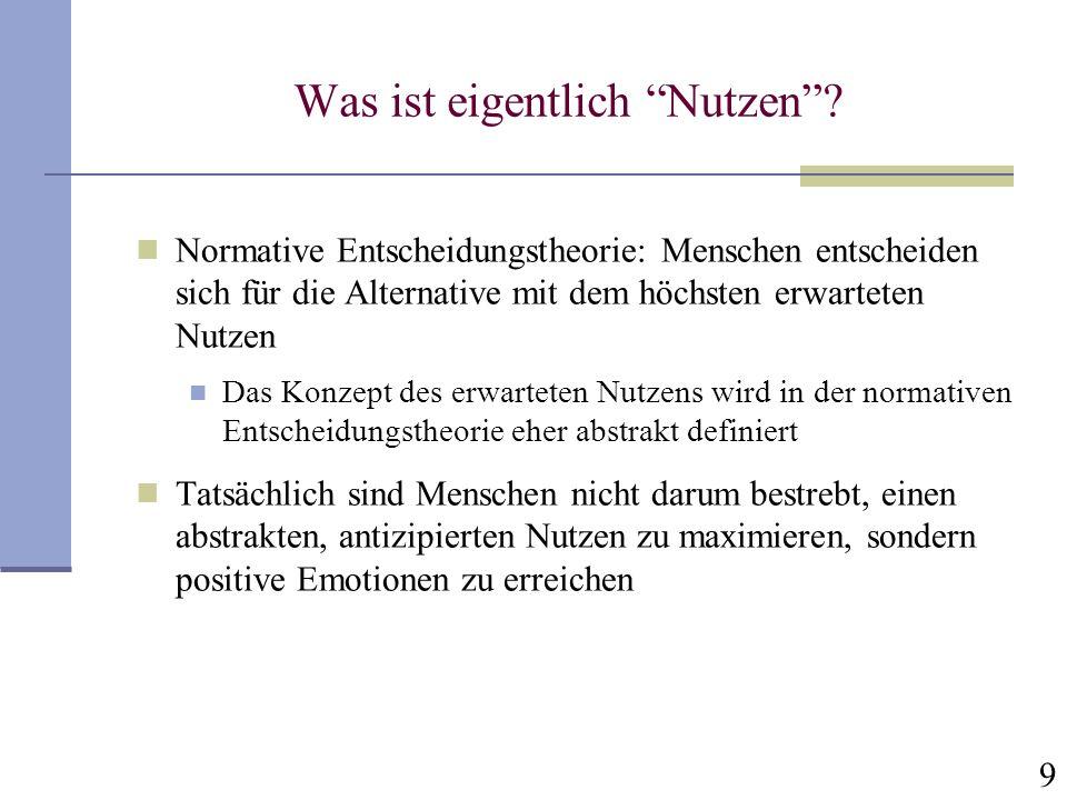 20 Die Prospekttheorie – oder: Wie erhält man als Psychologe den Nobelpreis für Ökonomie?