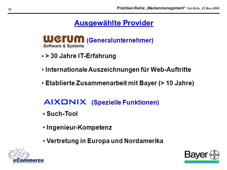Praktiker-Reihe Medienmanagement Uni-Köln, 21.Nov.2000 14 1. Idee / Konzept 2. Identifikation der Technologien / Serviceleistungen 3. Etablierung des