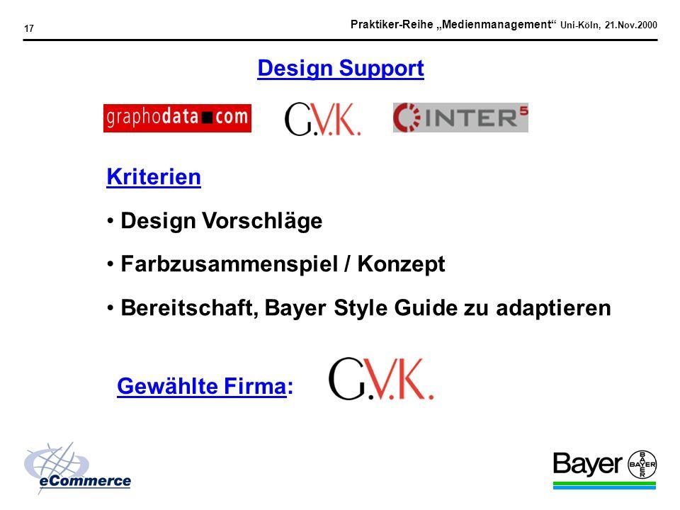 Praktiker-Reihe Medienmanagement Uni-Köln, 21.Nov.2000 16 1. Idee / Konzept 2. Identifikation der Technologien / Serviceleistungen 3. Etablierung des