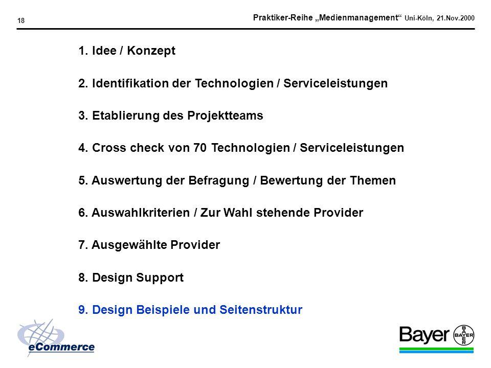 Praktiker-Reihe Medienmanagement Uni-Köln, 21.Nov.2000 17 Design Support Kriterien Design Vorschläge Farbzusammenspiel / Konzept Bereitschaft, Bayer S