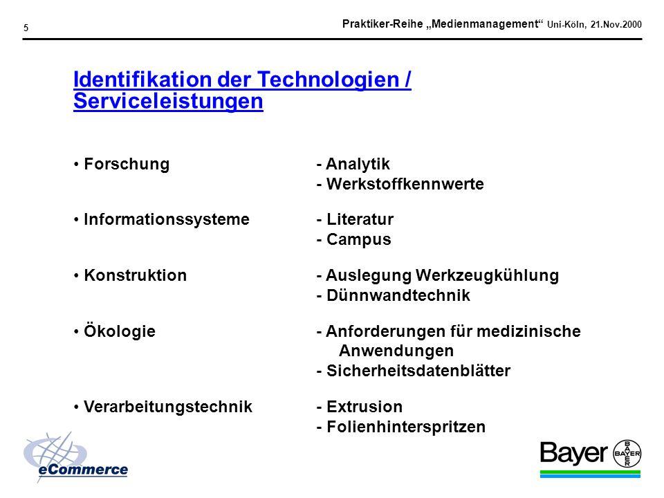 Praktiker-Reihe Medienmanagement Uni-Köln, 21.Nov.2000 15 Ausgewählte Provider > 30 Jahre IT-Erfahrung Internationale Auszeichnungen für Web-Auftritte Etablierte Zusammenarbeit mit Bayer (> 10 Jahre) (Generalunternehmer) Such-Tool Ingenieur-Kompetenz Vertretung in Europa und Nordamerika (Spezielle Funktionen)