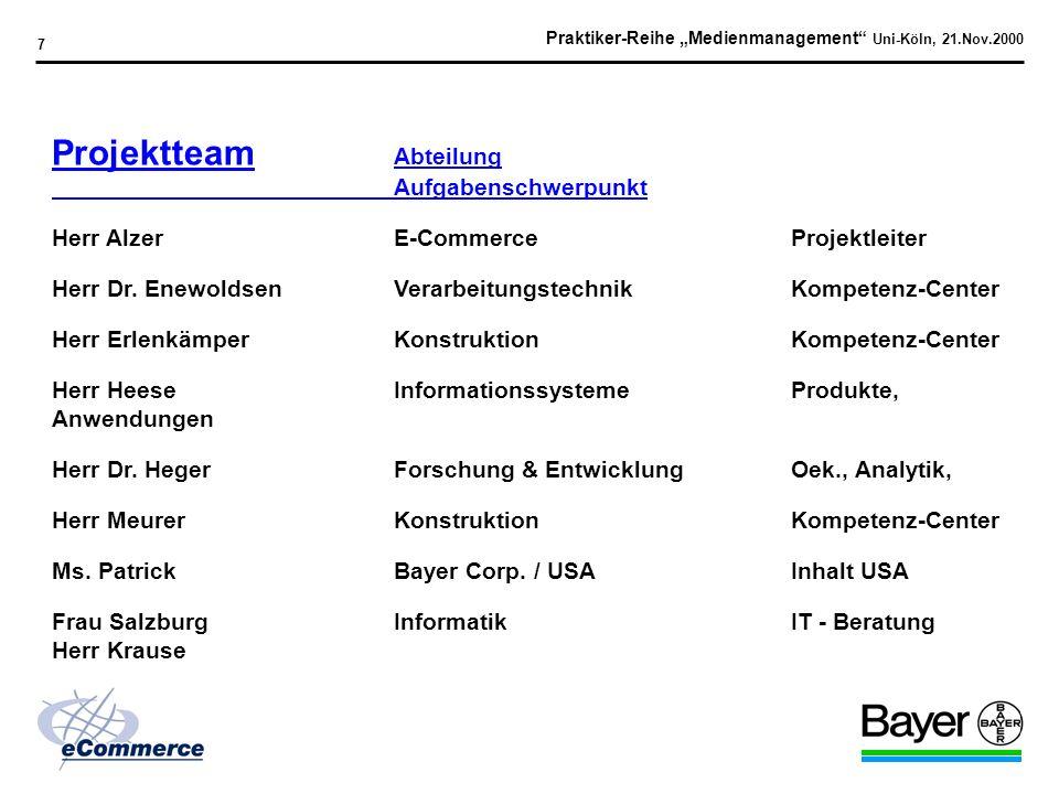 Praktiker-Reihe Medienmanagement Uni-Köln, 21.Nov.2000 17 Design Support Kriterien Design Vorschläge Farbzusammenspiel / Konzept Bereitschaft, Bayer Style Guide zu adaptieren Gewählte Firma: