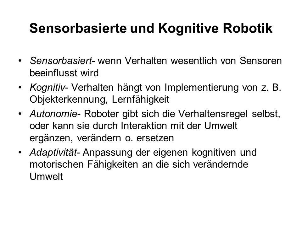 Sensorbasierte und Kognitive Robotik Adaptivität setzt voraus: –Imitation des Verhaltens anderer –Reaktivität zur Lösung von Problemen –Proaktivität –Lernen durch Erfahrung –Innovation (Ausprobieren) –Evolution der Motorik