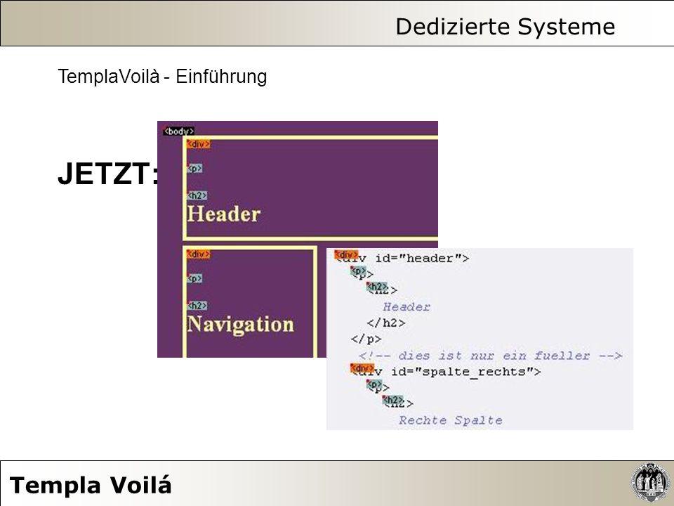 Dedizierte Systeme Templa Voilá TemplaVoilà - Einführung JETZT: