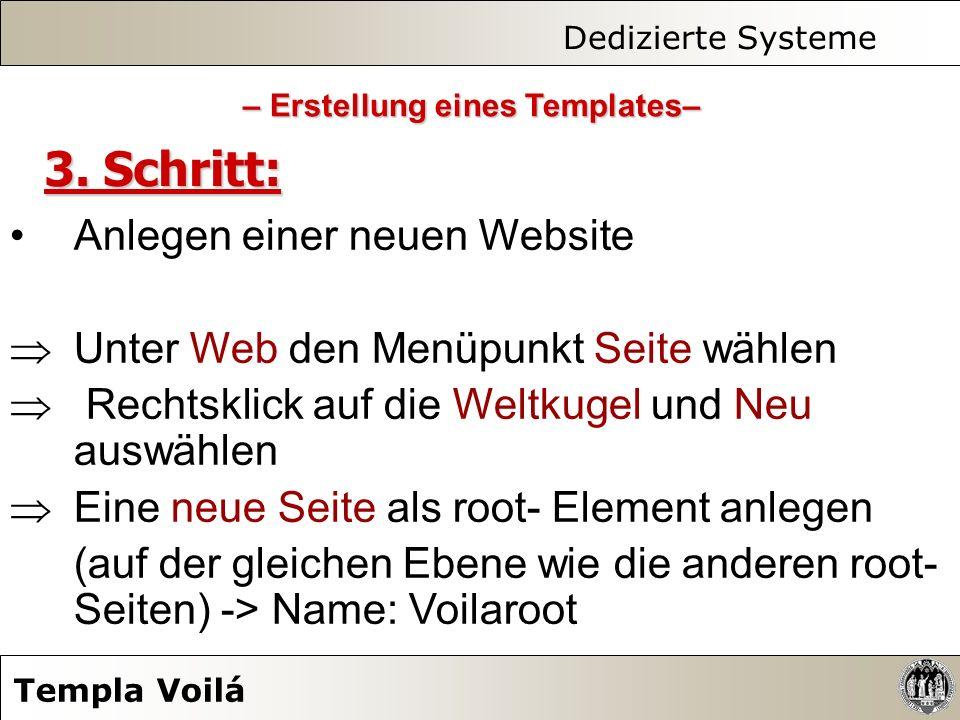 Dedizierte Systeme Templa Voilá 3. Schritt: Anlegen einer neuen Website Unter Web den Menüpunkt Seite wählen Rechtsklick auf die Weltkugel und Neu aus