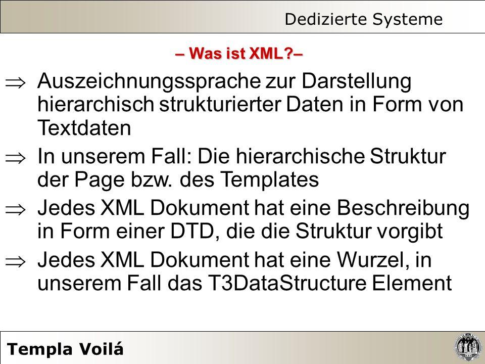 Dedizierte Systeme Templa Voilá Auszeichnungssprache zur Darstellung hierarchisch strukturierter Daten in Form von Textdaten In unserem Fall: Die hier