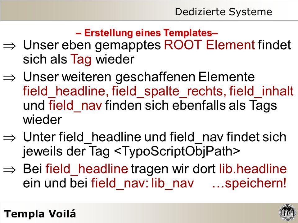 Dedizierte Systeme Templa Voilá Unser eben gemapptes ROOT Element findet sich als Tag wieder Unser weiteren geschaffenen Elemente field_headline, fiel